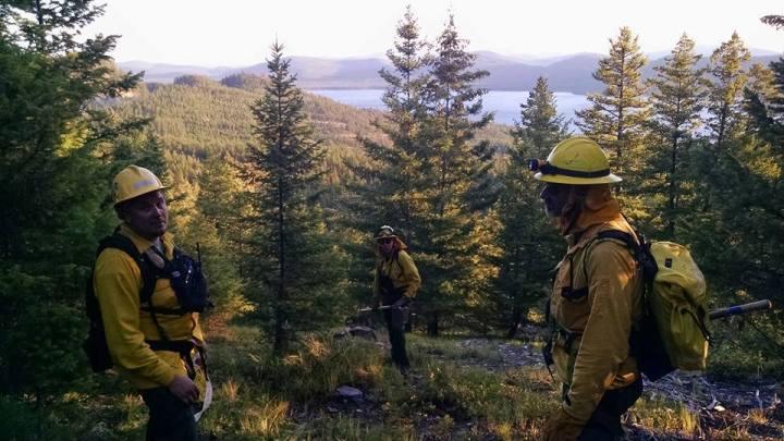 (On left) Asst. Fire Chief Aarron Jones, Firefighter/EMT Spencer Alrick Hale, and Firefighter Gary Webster during wildland firefighting operations near Little Bitterroot Lake
