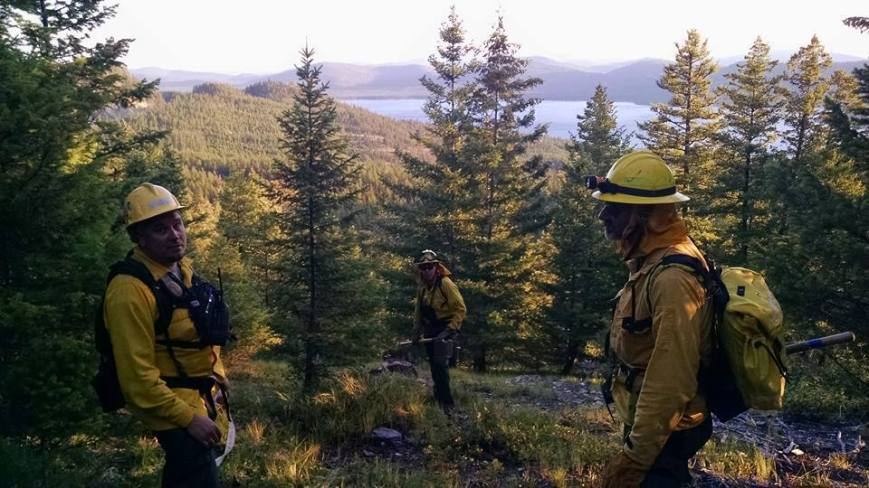(On left) Asst. Fire Chief Aarron Jones, Firefighter/EMT Spencer Alrick Hale, and Firefighter Gary Webster during wildland firefighting operations near Little Bitterroot Lake