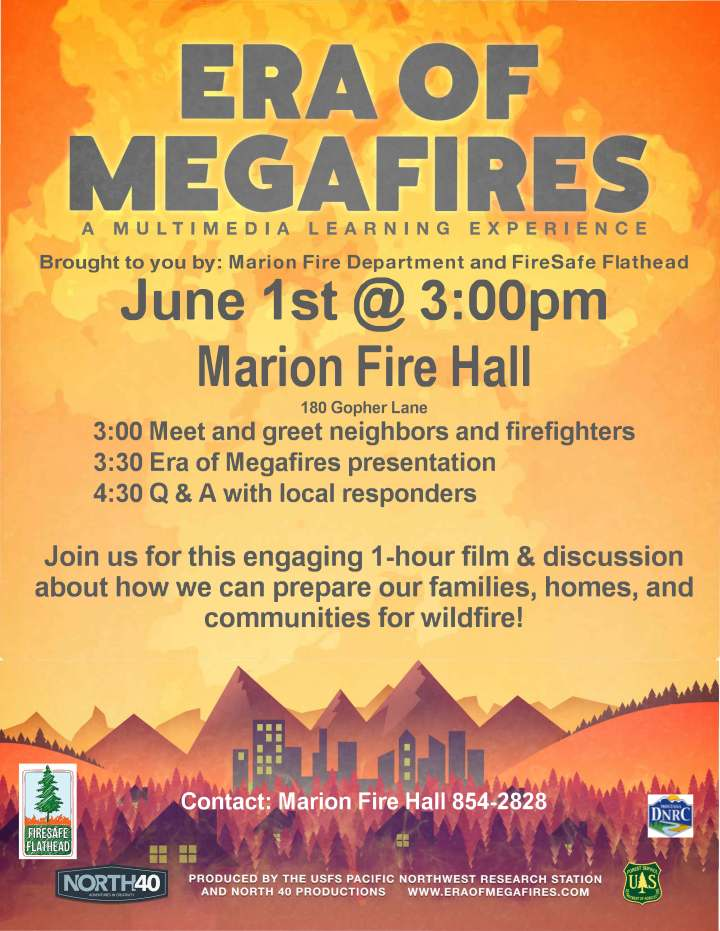 Flyer advertising Era of Megafires film presentation and panel discusssion on June 1, 2019 at Marion Fire Hall.