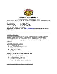 Image of first page of PDF file containing description of job description details for hiring a firefighter/EMT.