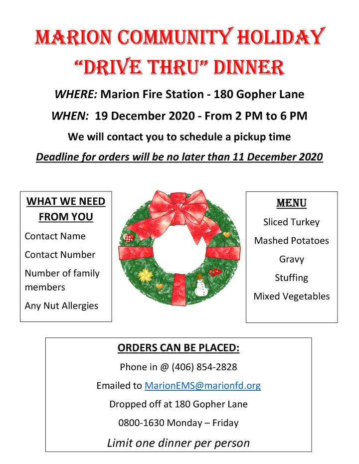 Flyer for Marion Fire Department's Annual Community Holiday Dinner