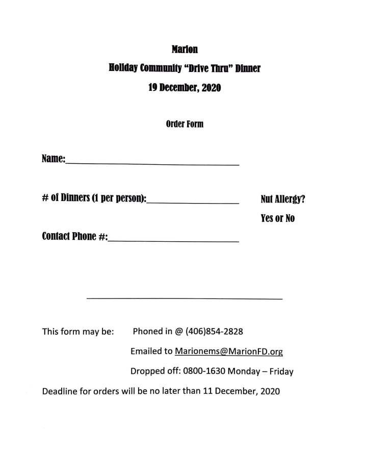 Community Holiday Dinner 2020 Meal Reservation Order Form